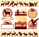 Mountains wildlife vector labels and silhouettes