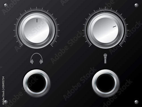 Volume knobs for headphones and or microphone
