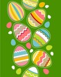Seamless spring vertical border with easter eggs