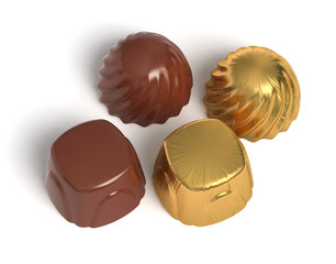Chocolate sweets with golden wrapper
