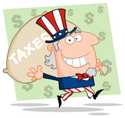 Happy Uncle Sam Runs And Carries A Bag Of Money