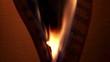 Burning music sheets, dark, closeup,