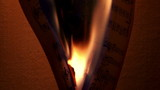 Burning music sheets, dark, closeup,