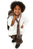Adorable Preschool Black Girl Child Wearing Father's Suit