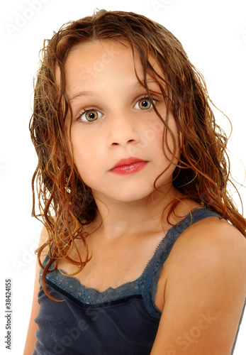 Adorable Girl Child Making Crazy Expression Over White