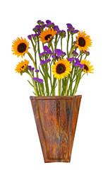 Pretty Arrangement of Sunflowers in a Wooden Vase