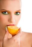 woman with lemon