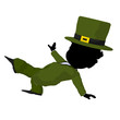 Little African American Leprechaun Girl Illustration Silhouette
