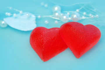Tasty sweet red hearts