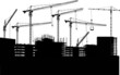 seven cranes and buildings on white - 38428380