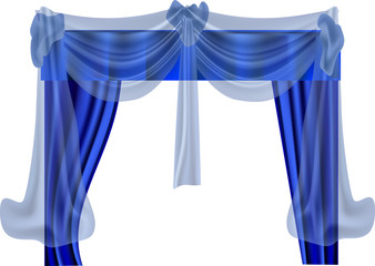blue curtains isolated on white