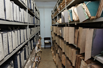 old vintage file documents in  storage room