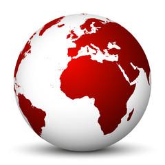 Weltkugel, Erdkugel, Erde, Welt, globale Krise, weltweit, rot