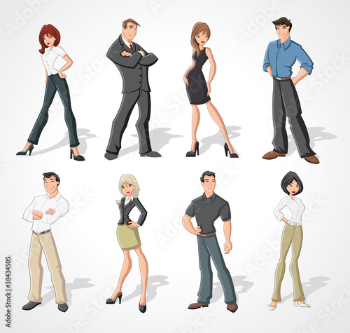 Group cartoon business people