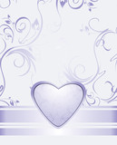 Lilac heart on the decorative background