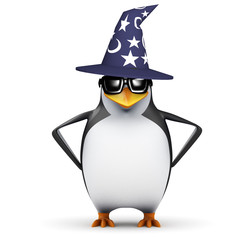 3d Penguin in a wonky wizards hat