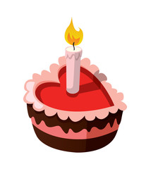Delicious heart-shaped cake with a burning candle.