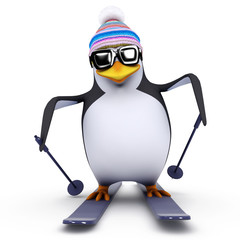 3d Penguin skis down the hill very fast