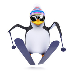 3d Penguin goes flying through the air on his skis
