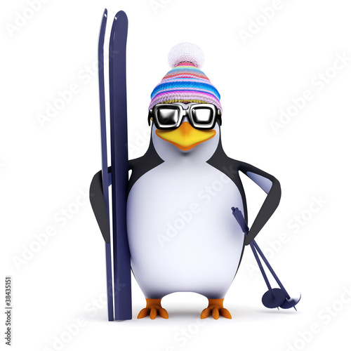 3d Penguin the famous skier