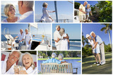 Montage of Senior People Lifestyle Golf & Sailing