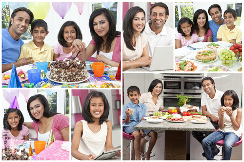 Montage of Asian Indian Family Eating Healthy Food