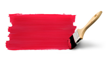 Paint brush painting red