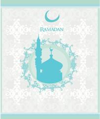 Ramadan background - mosque silhouette card