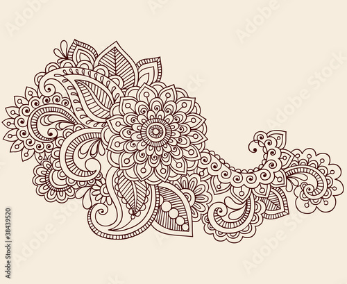 Henna Anstract Flowers Paisley Design Element Vector