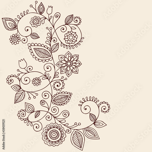 Elegant Henna Vines Doodle Vector Illustration