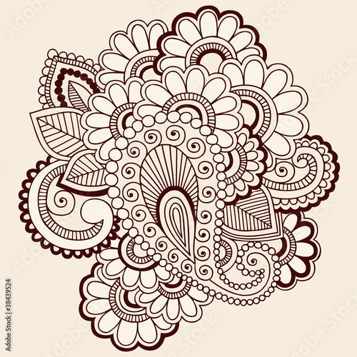 Henna Doodles Abstract Paisley Flowers Design Vector