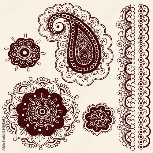 Henna Tattoo Paisley Flower Doodles Vector