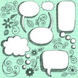 3D Sketchy Speech Bubbles Vector