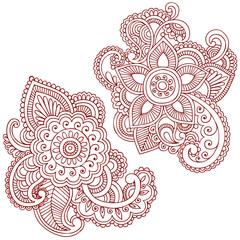 Henna Flower Doodles Vector Design Elements