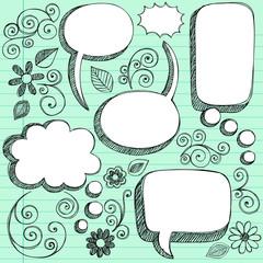3D Sketchy Speech Bubbles Vector