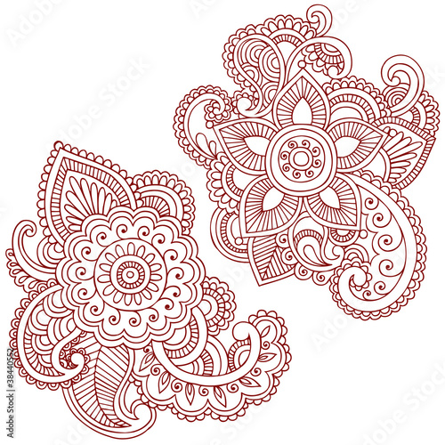 Henna Flower Doodles Vector Design Elements