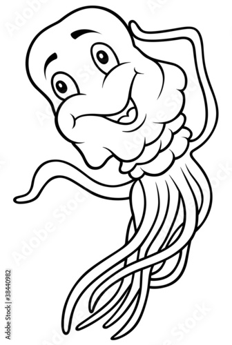 """Jellyfish - Black and White Cartoon Illustration"" Stock ..."