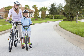 Woman and Boy Child, Mother & Son Cycling