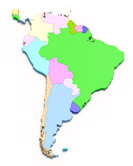 3D south america color map