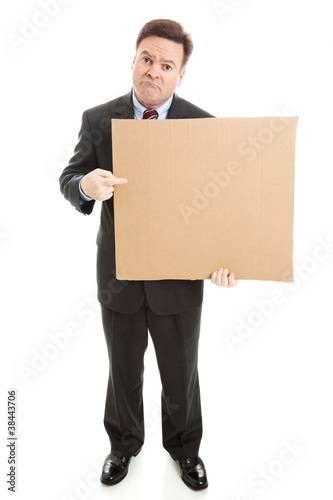 Sad Businessman with Cardboard Sign
