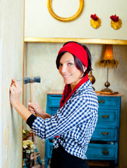 Diy fashion woman with nail and hammer
