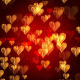 Fototapety golden red hearts background