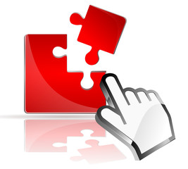Puzzle 3d in rot mit Cursor