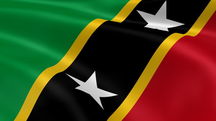 Kittitian flag in the wind