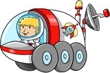 Cute Outer Space Moon Buggy Vector Illustration poster