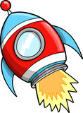 Cute Outer Space Rocket Vector Illustration poster