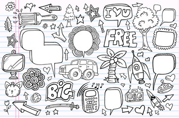 doodle sketch drawing vector element illustration notebook set