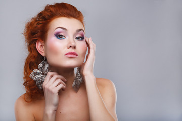 Beauty shot of woman with makeup
