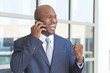 Successful African American Businessman Talking on Cell Phone