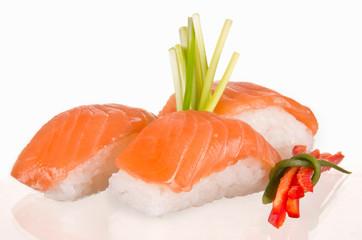 Sushi food on white background